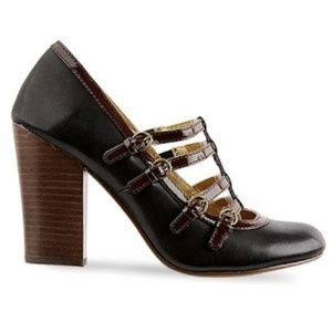 Anthropologie Cross Your T-Strap Heels in Black